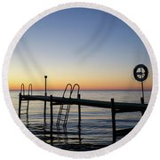 Sunset By The Old Bath Pier Round Beach Towel
