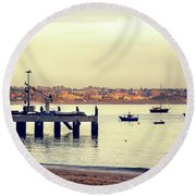 Round Beach Towel featuring the photograph Sunset By The Sea by Marion McCristall