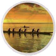 Sunset Canoeists Round Beach Towel by Scott Cameron
