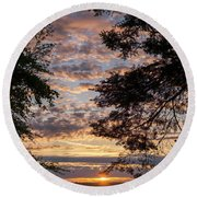 Sunset Caressed By Tree Branch Round Beach Towel