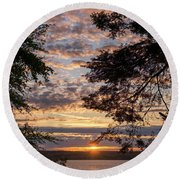 Sunset Caressed By Tree Branch Round Beach Towel by Mary Lee Dereske