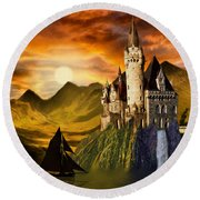 Sunset Castle Round Beach Towel