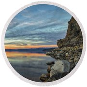 Sunset Cave Rock 2015 Round Beach Towel