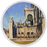 Sunset Cityhall Maastricht Entrance Round Beach Towel