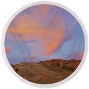 Sunset Clouds, Badlands Round Beach Towel