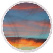 Sunset Clouds In Blue Sky  Round Beach Towel