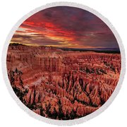 Sunset Clouds Over Bryce Canyon Round Beach Towel