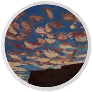 Round Beach Towel featuring the painting Sunset Clouds Over Santa Fe by Erin Fickert-Rowland