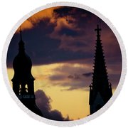 Sunset Cloudscape Old Town Riga Latvia Round Beach Towel