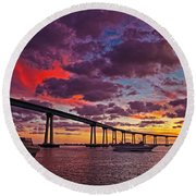 Sunset Crossing At The Coronado Bridge Round Beach Towel