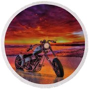 sunset Custom Chopper Round Beach Towel by Louis Ferreira