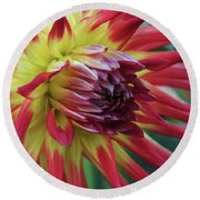 Sunset Dahlia Round Beach Towel