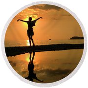 Sunset Dance Round Beach Towel
