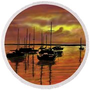 Round Beach Towel featuring the digital art Sunset by Darren Cannell