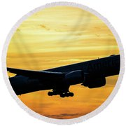 Sunset Departure From Dfw Round Beach Towel