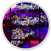 Sunset Dogwoods Neo Tiffany Window Round Beach Towel