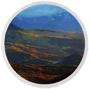Round Beach Towel featuring the photograph Sunset During Autumn Below The San Juan Mountains In Colorado by Jetson Nguyen