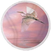 Sunset Egret Round Beach Towel