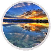 Sunset Explosion Round Beach Towel