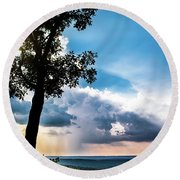 Round Beach Towel featuring the photograph Sunset Explosion by Shelby Young