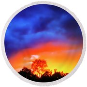 Sunset Extraordinaire Round Beach Towel