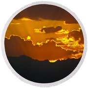 Sunset Fire Round Beach Towel by Colleen Coccia