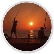 Sunset Fishermenr Round Beach Towel