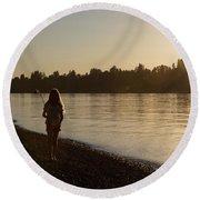 Sunset Fishing Round Beach Towel