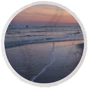 Round Beach Towel featuring the photograph Sunset Fishing Seaside Park Nj by Terry DeLuco