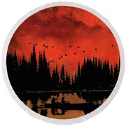 Sunset Flight Of The Ducks Round Beach Towel