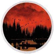 Sunset Flight Of The Ducks Round Beach Towel by Andrea Kollo