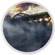 Sunset Fog At Caveman Bridge Round Beach Towel by Mick Anderson