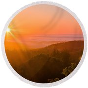 Sunset Fog Over The Pacific #1 Round Beach Towel