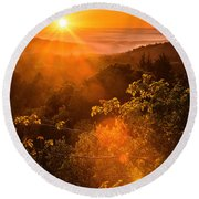 Sunset Fog Over The Pacific #2 Round Beach Towel