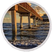 Round Beach Towel featuring the photograph Sunset Fort Myers Beach Fishing Pier by Edward Fielding
