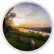 Sunset From Boreman Park Round Beach Towel