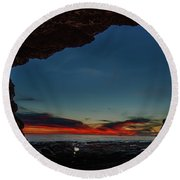 Sunset From Brady's Cave Round Beach Towel