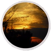 Sunset From Farm Round Beach Towel