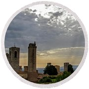 Round Beach Towel featuring the photograph Sunset From San Gimignano by Jean Haynes