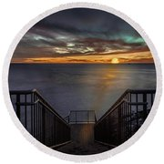 Sunset From Sandpiper Staircase Round Beach Towel