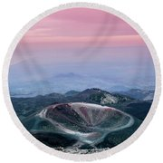Sunset From The Top Of The Etna Round Beach Towel