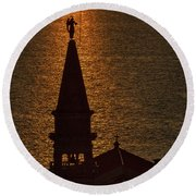 Round Beach Towel featuring the photograph Sunset From The Walls #2 - Piran Slovenia by Stuart Litoff