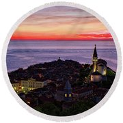 Round Beach Towel featuring the photograph Sunset From The Walls #3 - Piran Slovenia by Stuart Litoff