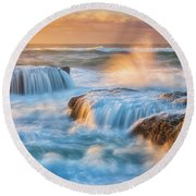 Round Beach Towel featuring the photograph Sunset Fury by Darren White