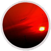 Sunset Geese Leaving Disappearing City - 0814  Round Beach Towel