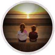 Sunset Sisters Round Beach Towel