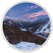 Sunset Glow Over Cannon Mountain Round Beach Towel