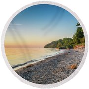 Sunset Glow Over Lake Round Beach Towel