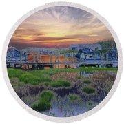 Sunset Harbor Dream Round Beach Towel