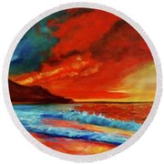 Sunset Hawaii Round Beach Towel by Jenny Lee